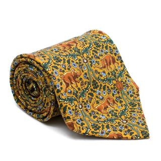Dunhill Lion and Elephant Print Tie