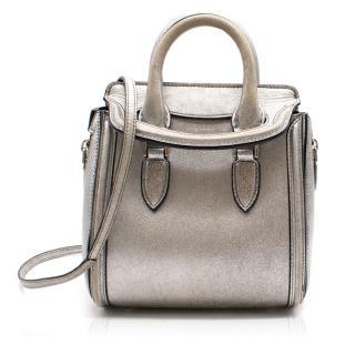 Alexander McQueen Metallic Mini Silver Heroine Leather Bag