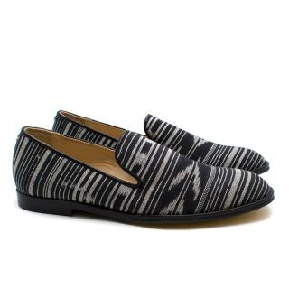 T & F Slack Shoemakers London Black and Grey Striped Loafers