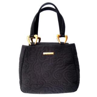 YSL Yves Saint Laurent Vintage Black Arabesque Pattern Bag.