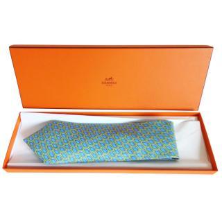 Hermes Suitcase design silk tie