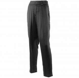 Paule Ka black silk harem style evening trousers