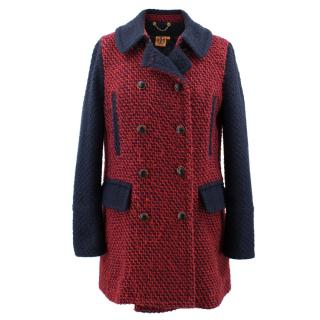 Tory Burch Red Navy Tweed Wool Boucle Military Jacket