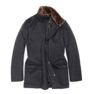 Loro Piana Winter Voyeger Cashmere Coat with mink collar