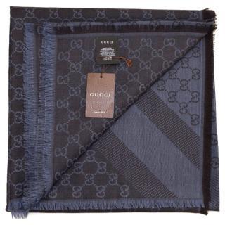 Gucci wool/silk scarf  - blue caffe