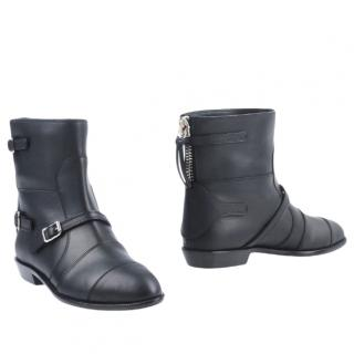Giuseppe Zanotti black leather flat Ankle Boots