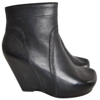 Rick Owens black leather classic wedge boots 6 / 39