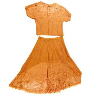 Times Up Copenhagen Vintage Crochet Skirt and Blouse set