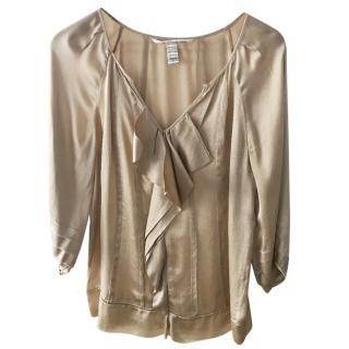 Diane Von Furstenberg beige silk top