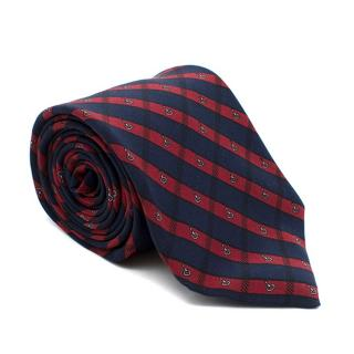 Christian Dior Monsieur Red and Navy Striped Tie