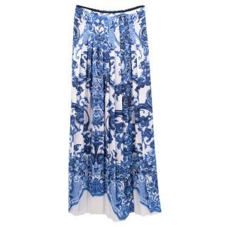 Roberto Cavalli Printed Crepe De Chine Maxi Skirt