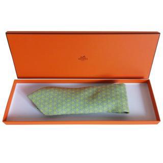 Hermes lime green boxed silk tie