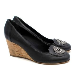 Chanel Black Leather Wedges