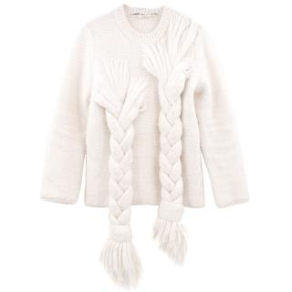 Comme des Garcons Braided Cream Knit Jumper