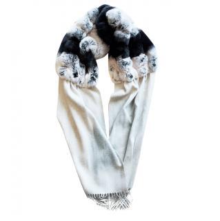 N.Peal fur cashmere scarf shawl