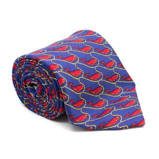 T. Anthony Red and Blue Silk Whale Print Tie