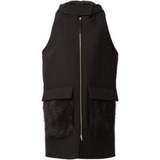 MARNI sleeveless hooded jacket/coat with raccoon pockets