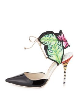Sophia Webster Rousseau Jungle printed satin and patent-leather sandal