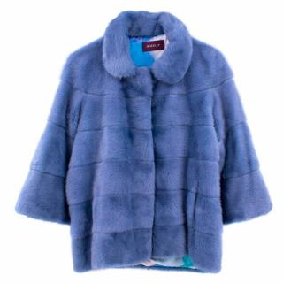 Hockley Hyacinth Blue Mink Fur Jacket with pockets