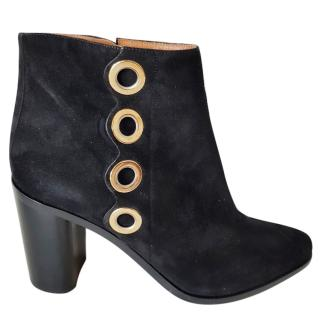 Chloe black suede eyelet boots 6