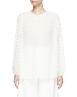 Zimermann white silk polka dot top blouse