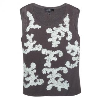 Robert Rodriguez Party Sequin 100% Linen Knit Top