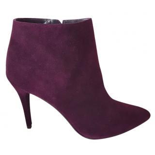 Stuart Weitzman burgundy purple suede boots 6 39