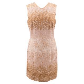 Missoni Gold Crotchet Knit Sleeveless Dress.