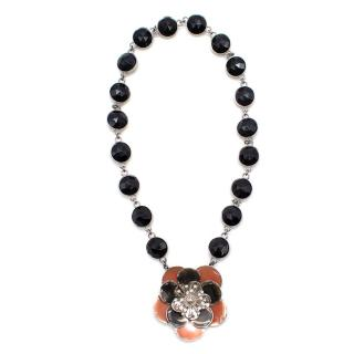 MiuMiu Black Crystal Flower Necklace
