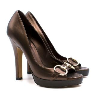 Gucci Brown Guccissima Horsebit Peep-Toe Heels