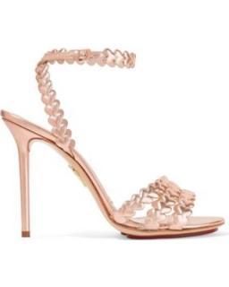 Charlotte Olympia Sz 39 I Heart You laser-cut metallic leather sandals