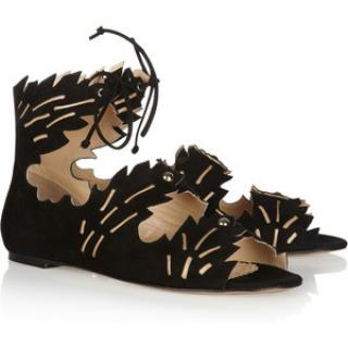 Charlotte Olympia Eden Cut Out Black Sandals Sz 39