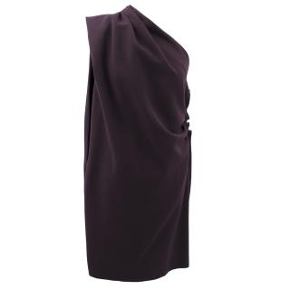 Lanvin Purple Wool One Shoulder Dress