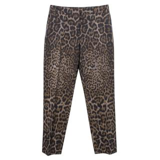 Lanvin Cropped Leopard Print Trousers