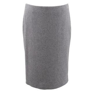 Alexander McQueen Grey Wool Pencil Skirt