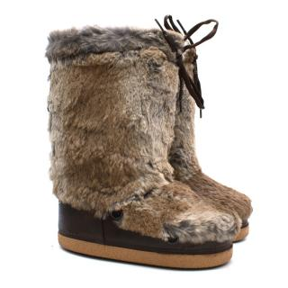 SAND Brown Fur Boots