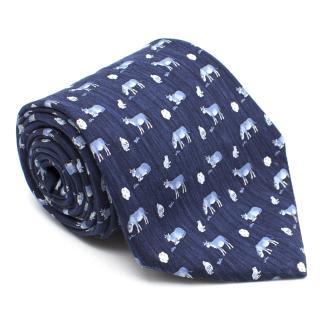 Hermes Dark Blue Cow Silk Tie