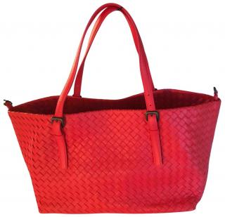 Bottega Veneta Intrecciato A-Shaped Tote Bag, Red