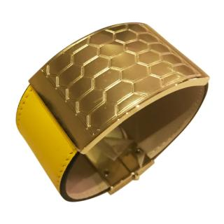 Bvlgari Serpenti Viper yellow leather cuff with gold hardware