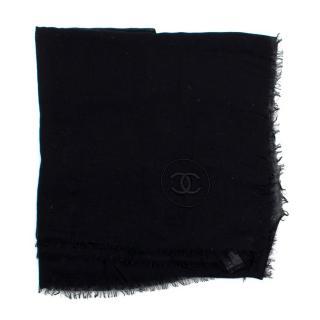 Chanel CC Black Cashmere Scarf
