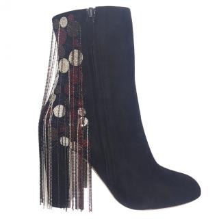 Chloe Liv Beaded Black Suede Ankle Boots