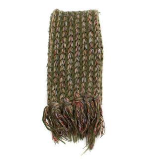 Missoni Green Wool Fringed Scarf