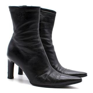 Chanel Black Leather Pointed Boots