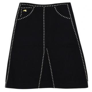 Bella Freud studded black wool skirt