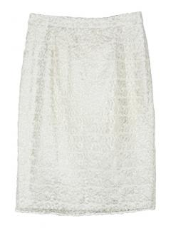 Freda gold and white niamh lace pencil skirt