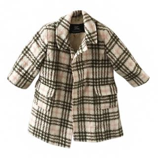 Burberry girl's check, floral lined coat