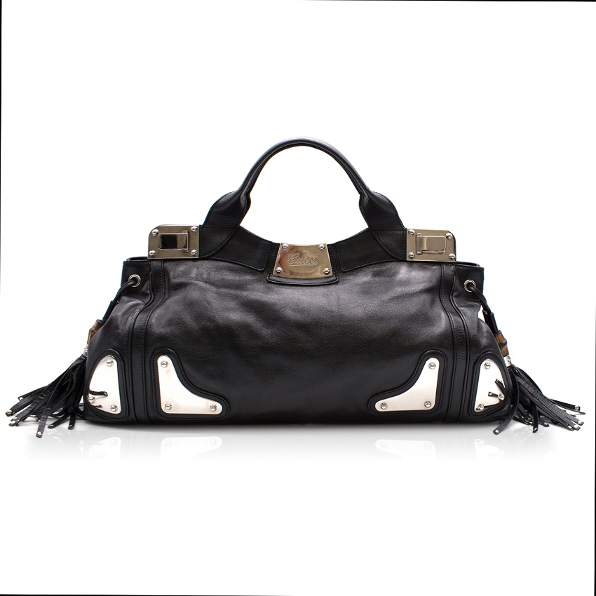 636f9b4bf Gucci Black Leather Bamboo Tassel Indy Satchel Bag   HEWI London