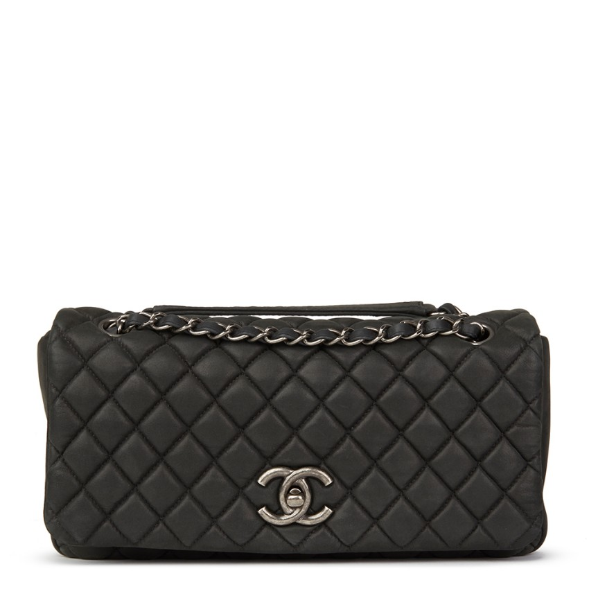 27371e69df5f Chanel Dark Grey Bubble Quilted Velvet Calfskin Small Flap Bag | HEWI London