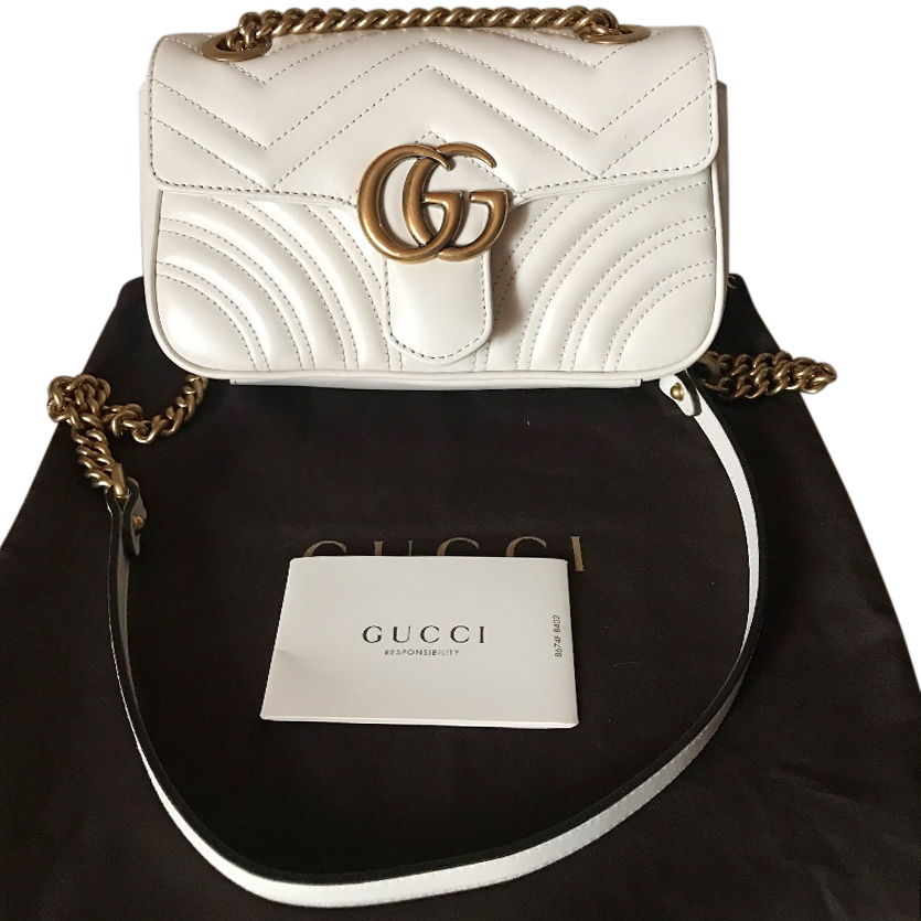 392fce2f251a Gucci Small White Gg Marmont Bag | HEWI London