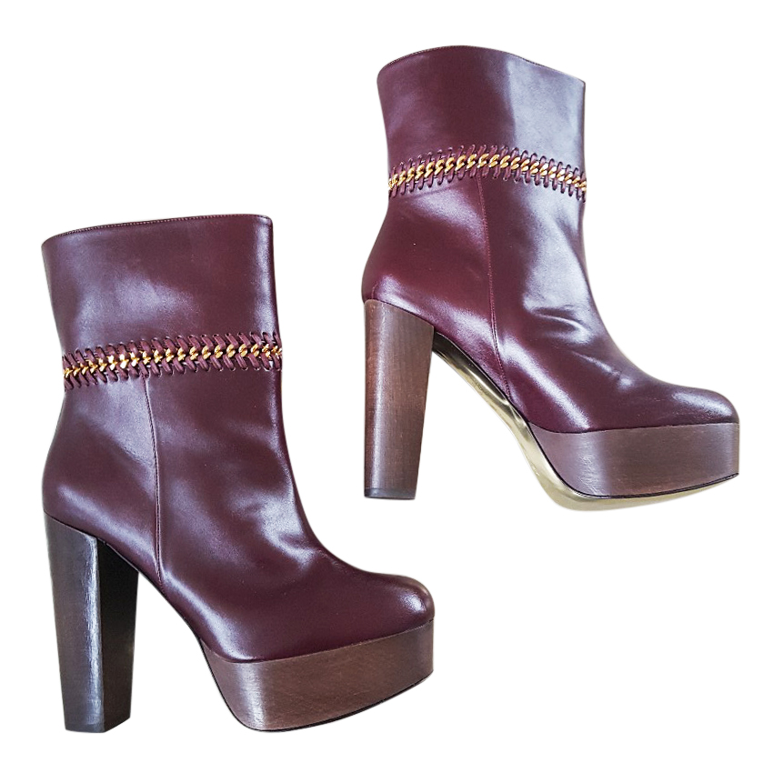 1c7866ac6cc Stella Mccartney Plum Burgundy Platform Ankle Boots